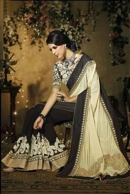 Black With Cream & Thred Work Designer sarees 7207