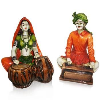 Rajasthnai Couples Playing Tabla & Harmonium