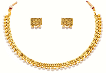 Traditional Ethnic One Gram Gold Plated White Pearls Designer Necklace Set / Jewellery Set for Women & Girls