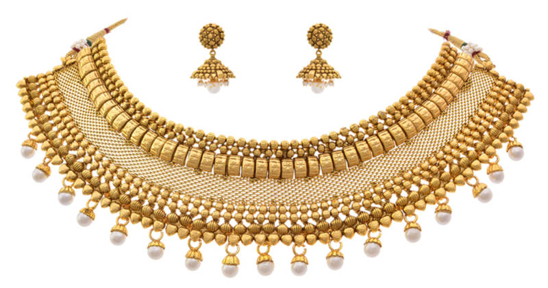 9aa4f480b9 Traditional Bridal One Gram Gold Plated Pearl Designer Choker Necklace set  with Earring for Girls & Women.