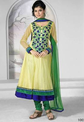 Light yellow net designer embroidered semi stitched anarkali suit