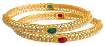 e442e5919f7f9 Traditional & ethnic one gram gold plated red green stone bangle set with  lcd::Champagne color austrian diamonds