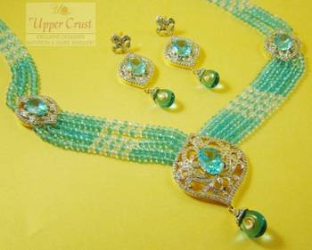 Aqua Blue Zircone Multi Necklace Set