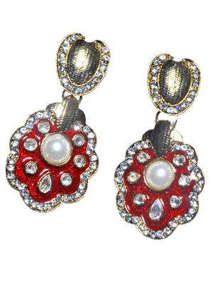 Maayra Stylish Red Meena Kundan Bollywood Hanging Earrings