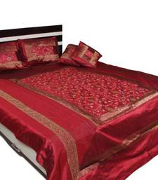 Buy Maroon Embroidery Bed Cover Set diwali-home-decor online