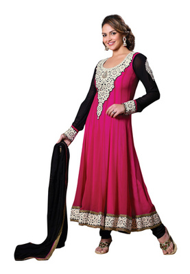 Fabdeal Party Wear Pink & Black Colored Pure Georgette Salwar Kameez