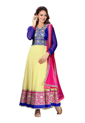 Fabdeal Party Wear Light Yellow Colored Pure Georgette Salwar Kameez