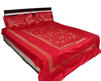 Stunning Red Polysilk Bedsheet set