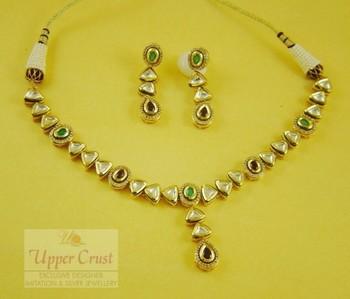 Sterling Silver Kundan Gold Plated Necklace Set