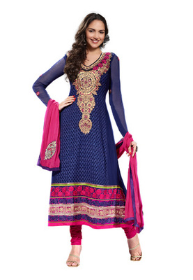 Fabdeal Party Wear Navy Blue & Pink Colored Pure Georgette Salwar Kameez