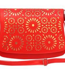 Buy Red pu plain sling bags sling-bag online