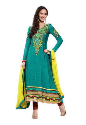Fabdeal Party Wear Teal & Brown Colored Pure Georgette Salwar Kameez