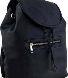Buy Black pu printed backpacks backpack online