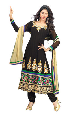 Fabdeal Party Wear Black & Cream Colored Faux Georgette Semi-Stitched Salwar Suit
