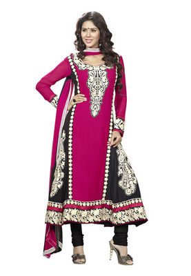 Fabdeal Party Wear Magenta & Black Colored Faux Georgette Semi-Stitched Salwar Suit