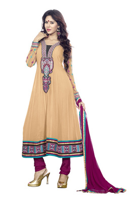 Fabdeal Party Wear Cream & Magenta Colored Faux Georgette Semi-Stitched Salwar Suit