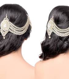 Buy Exclusively Fancy Designer 4 Line For Wedding Gold Finishing with Pearl and Stone in White Matha Patti hair-accessory online