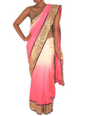 Silk and Sequin saree in Gold/ Pink and white