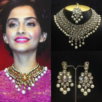 Bollywood Kundan Necklace Jewelry Set with Pearls