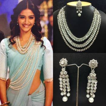 """""""Bollywood Necklace Set with Saree Belt in White Pearls """""""