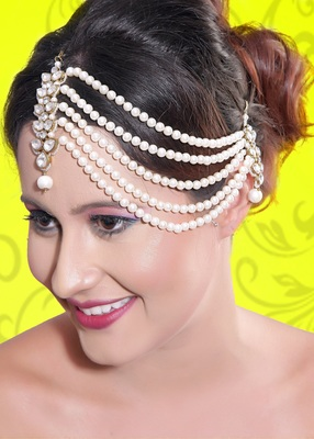 Ethnic Design 5 Line Matha Patti For Wedding Gold Finishing With Pearl And Stone In White
