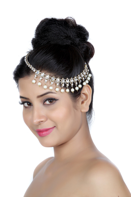 Exclusively Design Matha Patti For Wedding Gold Finishing with Pearl and Stone in White