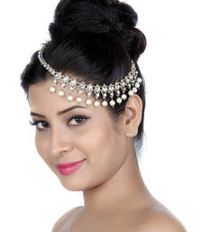 Buy Exclusively Design Matha Patti For Wedding Gold Finishing with Pearl and Stone in White hair-accessory online