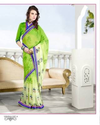 Printed Chiffon Saree In Double Color With Emnroidery Lace & Matching Art Silk Blouse.