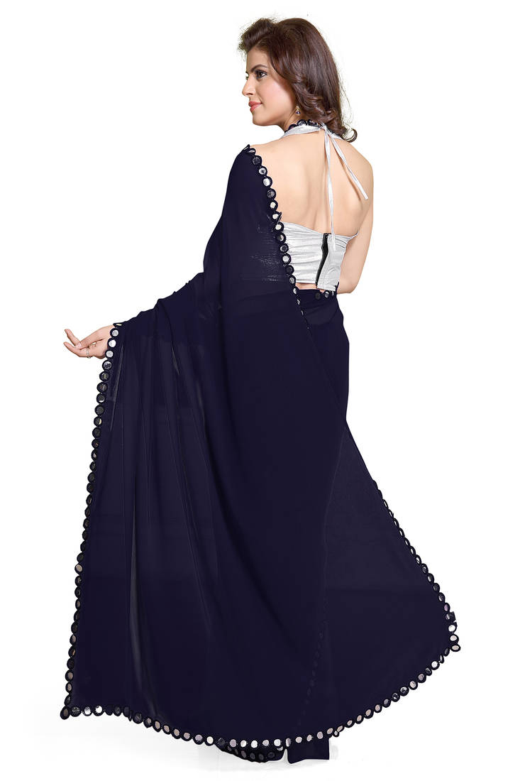 Buy Navy Blue Plain Georgette Saree With Blouse Online