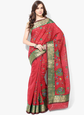 red woven super net saree With Blouse