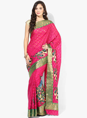 magenta woven super net saree With Blouse