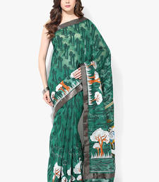 Buy green woven super net saree With Blouse supernet-saree online