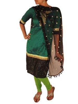 Peacock Green Raw Silk Kurta Set
