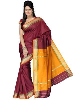 Kalazone Red,Yellow Zari Work Silk saree: WS20464