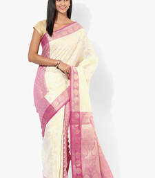Buy white woven super net saree With Blouse supernet-saree online