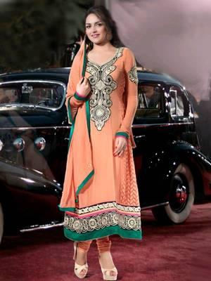 Kalazone Orange Silk,Georgette Salwar Kameez D8232/S3