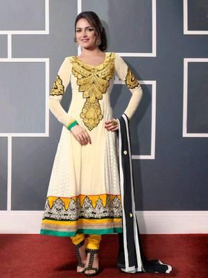 Kalazone White Silk,Georgette Salwar Kameez D8236/S3