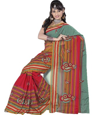 Kalazone Red,Green,Pink,Yellow Silk,Net Booti Work Saree: S8708/S10