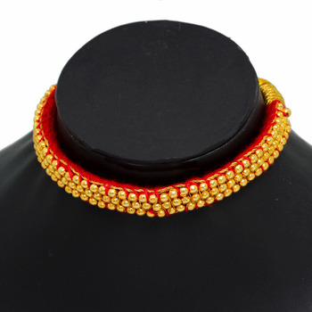 Tribal Look Rajasthani TraditionalGolden Beaded Fashion Necklace Set