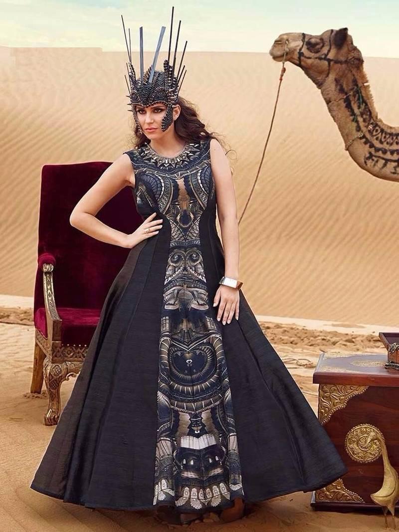 7362ea516b2b Black tapeta silk printed semi stitched gown - Shoppershopee - 1232264