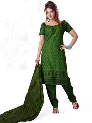 Kalazone Green Cotton Flower Print Salwaar Kameez : WD20161