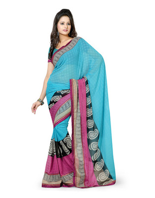Sky Blue Colored Chiffon Printed Saree