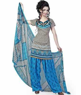 Kalazone Blue Grey Block Printed Crepe Silk Salwar Kameez:WD20499