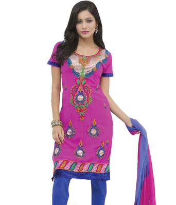 Kalazone Pink blue Embroidery Georgette salwar kameez:WD20515