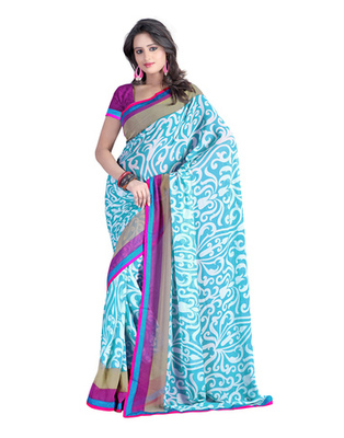 Sky Blue Colored Marble Chiffon Printed Saree