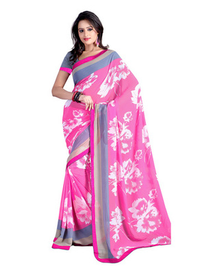 Pink Colored Marble Chiffon Printed Saree
