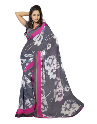 Grey Colored Marble Chiffon Printed Saree