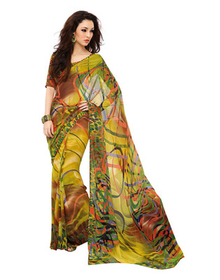 Olive Green Colored Georgette Saree