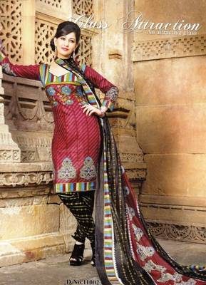 Alluring Maroon Printed Cotton Dress MaterialD.No PB11002