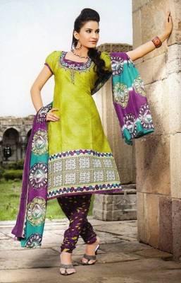Beautiful Green Printed Cotton Dress MaterialD.No PB11005